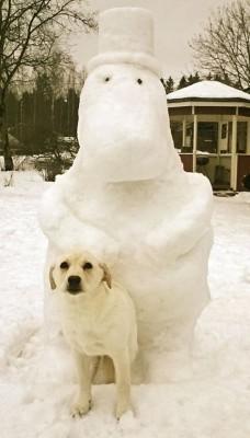 Meidän pihalla vartioi koirien lisäksi muumipappa!