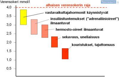 Paljon kertova kuva siitä, mitä tapahtuu kehossa kun verensokerit laskevat alas. Vasemmalla puolella näkyy verensokerimäärä (mmol/L).